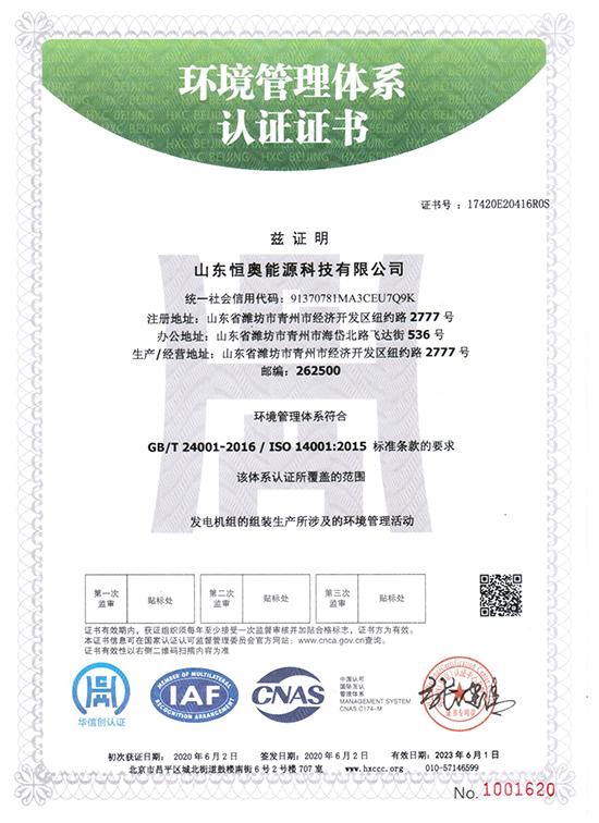 山东恒奥能源:环境管理体系认证证书